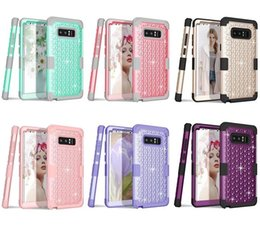 Wholesale Galaxy Star Covers - 3 in 1 Hybrid Armor Duty Stars Bling Diamond Silicone 360 full Cover Phone Case Hard Back Cover For Samsung Galaxy Note 8 S7 S8 PLUS Note 5