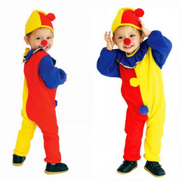 Wholesale Carnival Hats Wholesale - Halloween Children Kids Baby Jumpsuits & Rompers Hat Nose Carnival Clown Circus Cosplay Costumes Performance Children Clothing Party