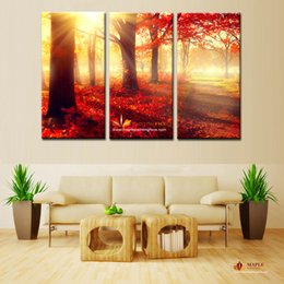 Wholesale Rooms Painted Red - 3 Piece Canvas Wall Art Red Trees Wall Picture Modern Home Decoration Living Room or Bedroom Canvas Print Painting - Chinese Painting Cheap