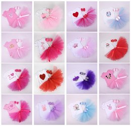 Wholesale Wholesale Jumpers For Babies - Summer Cute Girls Baby Rompers Clothing Sets Short Sleeve Onesies tutu Skirts Headbands Outfits Jumpers Toddler Infant Clothes for Girls