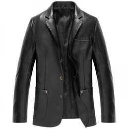 Wholesale Men Sheepskin Jacket Xl - Fashion Men's Leather Jackets And Coats Suit Collar Leather Jackets Men Slim Clothing Soft Faux Leather Clothes For Man
