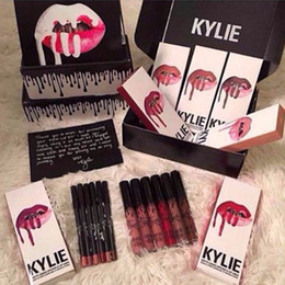 Wholesale Dhl Freeshipping - Kylie Lip Kit by kylie jenner Velvetine30 color Liquid Matte trick spice lipgloss pumpkin moon Lip Pencil Lip Gloss DHL Free shipping