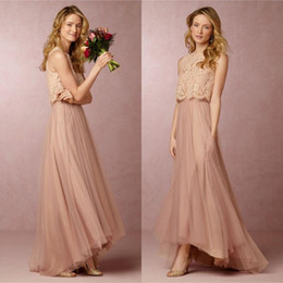 Wholesale Vintage Lace Pink Bridesmaid Dress - BHLDN 2016 Vintage Blush Pink Two Pieces Bridesmaid Dresses Lace Crop High Low Beach Bridesmaid Dresses Wedding Party Gowns Custom Made