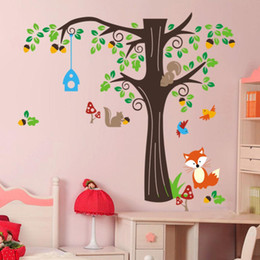 Wholesale Play Monkeys - 50pcs 2 sizes large cute monkeys playing on tree animal wall stickers for kids rooms ZY1204 removable pvc wall decals home decor 4.5