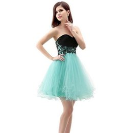 Wholesale Cheaper Summer Short - 2016 Best Cheaper Short Green Homecoming Dresses A line Appliques Backless Cocktail dress Tulle lace up Prom Party Gown