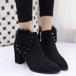 Wholesale Aa Side - 2017 autumn and winter new female side zipper rivet bow with high-heeled suede with Martin boots boots