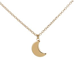 Wholesale Necklace Half Moon - Wholesale-2016 New Gold Minimalist Crescent Moon Necklace Plain Half Moon Pendant Necklaces for Women Long Necklace Gifts N187