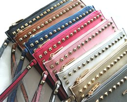 Wholesale Handbag Rivet Lady Wallet Clutch - New Fashion Style PU Leather Handbag Famous Brand Retro Rivet Tote Bag Lady wallet Clutch Female Purse Evening Necessaries Bag