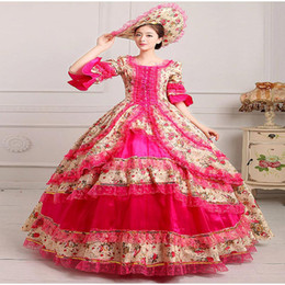 Wholesale Costume Theatre - 2017 Elegant Vintage Print Dance Dress 18th Century Marie Antoinette Dress Ball Gown Reenactment Theatre Clothing Medieval Renaissan Costume