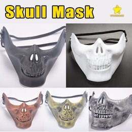 Wholesale Wholesale Human Masks - Skull Mask Jaw Horror Half Face Shied Terror Masks Plastic Human Skull Skeleton Mask for Halloween Outdoor Party