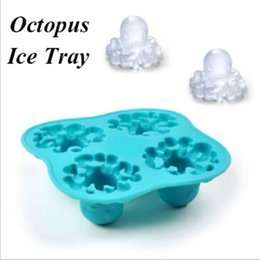 Wholesale Frozen Bar Drinks - Interesting Silicone Ice Cube Maker Freeze Mold Mould Octopus Shape Bar Ice-tray Summer Drinking Tools Best Gift