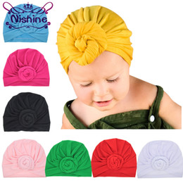 Wholesale Wholesale Crocheted Hats - Nishine 8 Colors Newborn Baby Toddler Kids Rose Bowknot Soft Cotton Blend Hat Caps Clothes Accessories Christmas Gift
