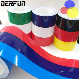 Wholesale Decorative Roof - BMW E46 Tricolor Waterproof 0.15m*25.00m BMW National Flag Three Color Bar Car Body Decorative Vinyl film Wrapping Sticker