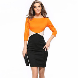 Wholesale three quarter sleeve silk dress - Pencil Women Dress 2017 New Fashion Patchwork Plus Size Sexy Office Comfortable Silk Bohominan O-Neck Three Quarter Pencil Dress
