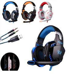 Verstecktes mikrofon online-Neue Deep Bass Gaming Headset Stereo G2000 Sound 2,2 mt Verdrahtete Kopfhörer Stimme Kopfhörer Stirnband steuerung mit Versteckten Mikrofon für Computer