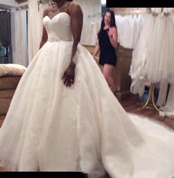 vestidos de casamento da bola da cauda longa Desconto Imagem Real Nupcial Linha de Vestidos de Noiva Querida vestido de Baile Lace Longo Cauda Baratos Vestidos de Casamento De Cihina