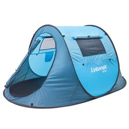 Wholesale Travel Beach Tent - 2 Man Outdoor Camping Tent Family Hiking Party 1S Quick Automatic Opening Tents Double Door Double Windows Casual Waterproof Beach Tent Sale