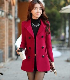 Wholesale Plus Size Polka Dot Coat - 2016 Fall Winter Womens Double-breasted Button Lapel Pocket Multicolor Plus Size Long Sleeves Mother Wool Coat Ladies Jacket OjfL001