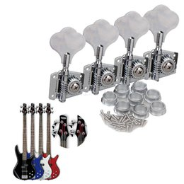 Wholesale guitar parts pegs - 4PCS Chrome Bass Guitar Machine Heads Knobs Tuners Tuning Pegs Guitar Parts