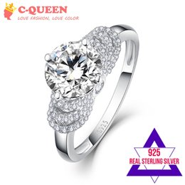 Wholesale Round Silver Ring Box - CQueen 8x8mm 3.5CT Round Cut White Topaz Love Eternity Solid 925 Sterling Silver Wedding Ring for Women Free with Box