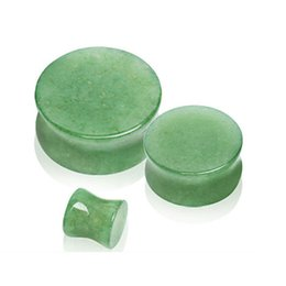 Wholesale Ear Plugs Mix - Flat Green Gade Aventurine Stone Plugs & Tunnels,Mix 6-16mm Agate Organic Saddle Flared Solid Ear Plugs Body Piercings BJ7304