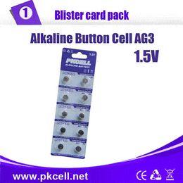 Wholesale Lr736 Button Cell - 50Pcs 10card PKCELL 1.5V LR41 AG3 SR41W 392 192 GP192A LR736 Button Watch Battery Cell Cion Batteries