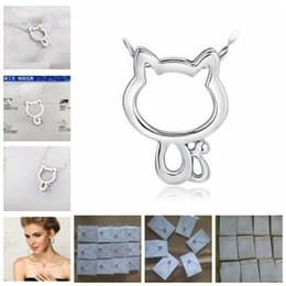 Wholesale Waving Cats - Vintage Hollow Out 925 Silver Cat Pendant Necklace With Water Wave Chain And Velvet Jewelry Cards Gift Present Ball Prom Party Women