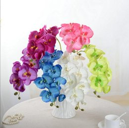 Wholesale Wholesale Blue Orchids - Fashion 75cm orchid artificial flowers DIY Artificial Butterfly Orchid Silk Fake Flowers Bouquet Phalaenopsis Wedding Home Decoration