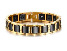 Saúde jóias germânio on-line-Hematita de ouro dos homens de cerâmica preta terapia magnética germânio ligação saúde pulseira melhorar a terapia de insônia jóias b868s