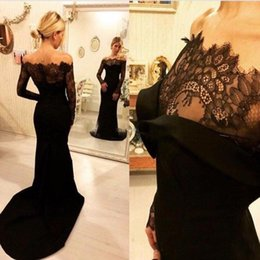 Wholesale Memaid Prom Dresses - 2017 Sexy Black Memaid Prom Dresses Bateau Neckline Long Sleeves Satin Lace Sweep Train Evening Gowns For Women Vestido