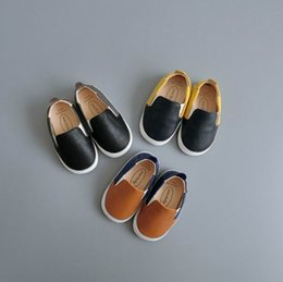 Wholesale Rubber Sole Kids Shoes - wengkk store 2017 Autumn baby leather shoes with soft sole fashion kids shoes best selling top quality free shipping