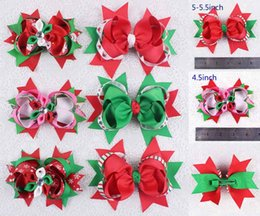 Wholesale Printed Wholesale Grosgrain - lot 12pcs 4-5inch baby girl Christmas party gift Grosgrain Ribbon Hair Bows Alligator Clip children hairpins 018+1355