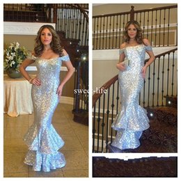 Wholesale Empire Luxury - Luxury New Crystal Design 2017 Mermaid Evening Dresses Off-Shoulder sleeveless Zipper Empire Cascading Silver Sequined Party Gowns Prom Wear