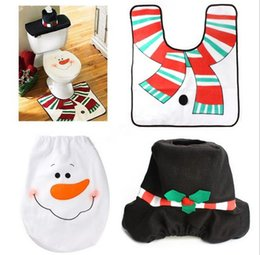 Wholesale Tissue Box Cartoon - Christmas Decoration Snowman Toilet Cover Seat Cover + Tissue Box+Rug Bathroom Mat Set Christmas Gift Home Adornos navidad free JF-78