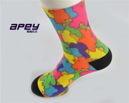 Wholesale Mens Hosiery - APEY sexy women comfortable hosiery high quality compression socks for women mens rainbow color sexy shorts socks