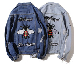 Wholesale Rivet Jeans Jacket - Europe and the United States Street hip-hop, fly embroidery hole break do old trend loose jeans jacket