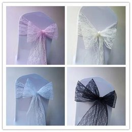 Wholesale Lace Chair - Lace bow Wedding Chair Bows Wedding Birthday Party Events decroation Chair Sashes White Ivory Chair Covers 18*275 cm