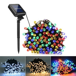 Wholesale solar red - 7m 12m 22m Solar Lamps LED String Lights 100 200 LEDS Outdoor Fairy Holiday Christmas Party Garlands Solar Lawn Garden Lights Waterproof