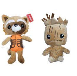 Wholesale Wholesale Plush Raccoon - 20cm Guardians of the Galaxy Plush Toys Tree People Groot Rocket Raccoon Stuffed Animals Children's Gifts for Christmas CCA7061 100pcs