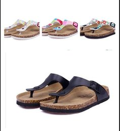 Wholesale Navy Sandals Style - New style summer woman men flats sandals Cork slippers unisex casual shoes print mixed colors flip flop free shipping