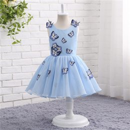Wholesale Baby Clothes For Cheap - Blue Girls Pageant Dresses Baby Girls Clothes Butterfly Appliques Puffy Flower Girl Dresses For Wedding Cheap Style