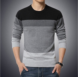 Wholesale Slim Fit Pullover - 2016 New Autumn Fashion Brand Casual Sweater O-Neck Striped Slim Fit Knitting Mens Sweaters And Pullovers Men Pullover Men 5XL