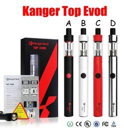 Wholesale Evod Refill - 100% Authentic Kanger Top Evod Kit 1.7ml Top Refilling Toptank Evod with 650mAh Evod Battery 4 Colors vision spinner Starter Kit