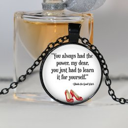 Wholesale American White Power - You Always Had the Power Necklace, Wizard of Oz Jewelry, Wizard of Oz Necklace, Fashion Silver Plated Choker Necklace