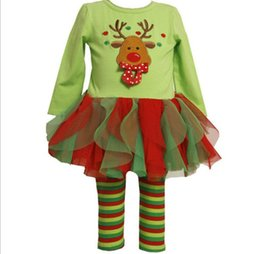 Wholesale Girls Green Skirt Leggings - Christmas baby girls dress sets tutu skirts+stripe leggings kids sets children cotton Snowman suits baby sets dress+pants 1set pack SDF004