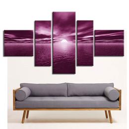 Wholesale Sunrise Canvas Painting - Sunrise Morning Light Sea Oil Paintings Five Panel Canvas Art Oil Spray Paintings for Home Decor