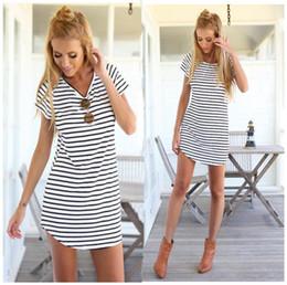 Wholesale Shift Dress Wholesale - 2016 Fashion Black White Elegant Women Shirt Dress Top Tee Summer Short Sleeve Stripes Loose Casual Jersey Mini Shift Dresses Shirt