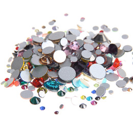 Wholesale Nail Crystal Mix Colors - Mixed Colors ss3-ss10 Non Hotfix Crystal Rhinestones For Nails Art Decoration Flatback Glue On Strass Stones DIY Crafts Jewelry Making