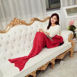 Wholesale New Mermaid Costumes - 2016 New 195*95cm Crochet Mermaid Tail Blanket Super Soft Warmer Blanket Bed Sleeping Costume Air-condition Knit Blanket