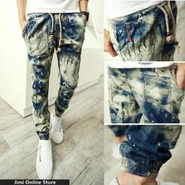 Wholesale Antique Linens - Wholesale-linen trousers men floral joggers strip man jogger pants Men's tie dye harem pants ink painting a gradient antique casual pants